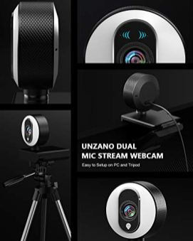 UNZANO-Streaming-Webcam-with-Ring-Light-and-Dual-Microphone-1080P-FHD-Advanced-Autofocus-Webcam-USB-Adjustable-Brightness-Web-Camera-for-Mac-Windows-Laptop-Desktop-Gaming-Xbox-Zoom-OBS-etc