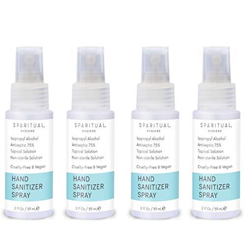 SPARITUAL Hand Sanitizer Spray 2oz Journey Dimension | 4-pack Bundle Alcohol Primarily based Hand Sanitizers
