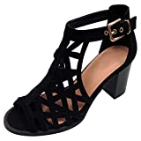 TravelNut Best Prime Fashion Summer Dress Fat Heel Buckled Ankle Strap Sandal Shoe for Women Teen Girls (Black Size 8)