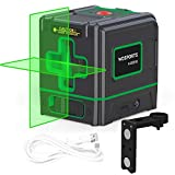 Green Laser Level Rechargeable laser levelling 520nm Lowes Self-Leveling Cross-Line laser Horizontal,for Picture Hanging/Tile/Wall/Ceiling, Class 2,Less Than 1MW, 321G (Black)