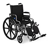 Medline Lightweight & User-Friendly Wheelchair With Flip-Back, Desk-Length Arms & Elevating Leg Rests for Extra Comfort, Gray, 18' Seat