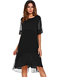 Casual Dresses,Dressfirst Women's Loose Solid Dark Blue Knee Length Shift Dress