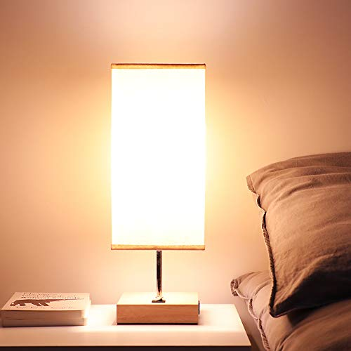 Bedside USB Table Lamps for Bedroom - USB Charging Port Wood Lamp for Living Room End Side Table Office - Handy Switch, Beige Fabric Lamp Shade, E26 Bulb Socket