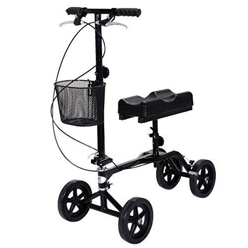 Giantex Steerable Foldable Knee Walker Scooter Turning Brake Basket Drive Cart Black