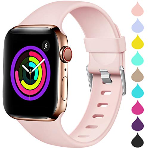 Haveda Sport Band Compatible for Apple Watch 42mm 44mm, Soft TPU Bands for iWatch, Apple Watch Series 4, Series 3, Series 2, Series 1 Women Men, Pink Sand 42mm/44mm M/L