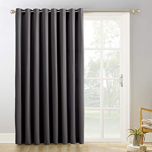 Sun Zero Easton Extra-Wide Blackout Sliding Patio Door Curtain Panel with Pull Wand, 100' x 84', Charcoal Gray