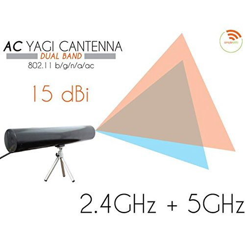 Yagi Cantenna Dual-Band WiFi Extender (Long Range Wi-Fi Booster) Fast High Speed Antenna Extends WiFi for Home, Business (Indoor) Directional (Clear)