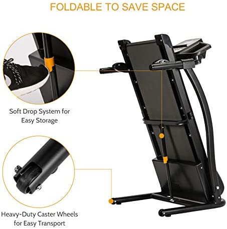 ZELUS 1100W Folding Treadmill for Home Gym with 3 Level Incline, Heart Monitor, Portable Electric Running Machine, Treadmill Foldable with Cup/Phone Holders/Mat 7