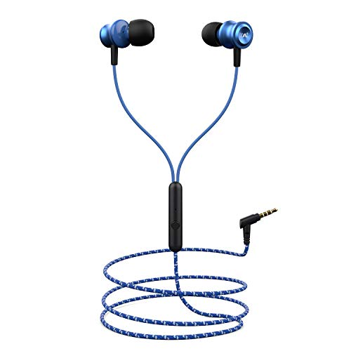 boAt BassHeads 152 Wired Earphones with Super Extra Bass, Durable Cable, Built-in Mic, Metallic Earbuds(Jazzy Blue) 163