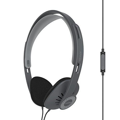 Koss KPH30i On-Ear Headphones | in-Line Microphone & Remote | Lightweight | Deep Bass | Dark Grey