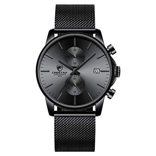 GOLDEN HOUR Mens Watch Fashion Sleek Minimalist Quartz Analog Mesh Stainless Steel Waterproof Chronograph Watches