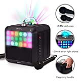 Singsation Star Burst Portable Karaoke Machine-Comes w/ 2 Mics, Room-Filling Light Show, Retro Front Light Panel & Works Via Bluetooth-No CDs Required-Use YouTube for Your Favorite Karaoke Songs