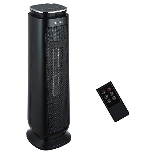 PELONIS Ceramic Space Heater, 1500W Electric Portable Tower Heater with 8-Hour Programmable Timer, Remote Control, Oscillating Safe Heater for Indoor Use
