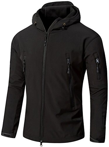 Camo Coll Men's Outdoor Soft Shell Hooded Tactical Jacket (L, Black)