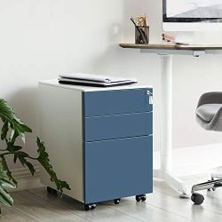 "SONGMICS Steel File Cabinet with 3 Drawers, Lockable Steel Pedestal with Hanging File Rails, 20.5""L x 15.4""W x 23.6""H, White and Blue UOFC60WB"