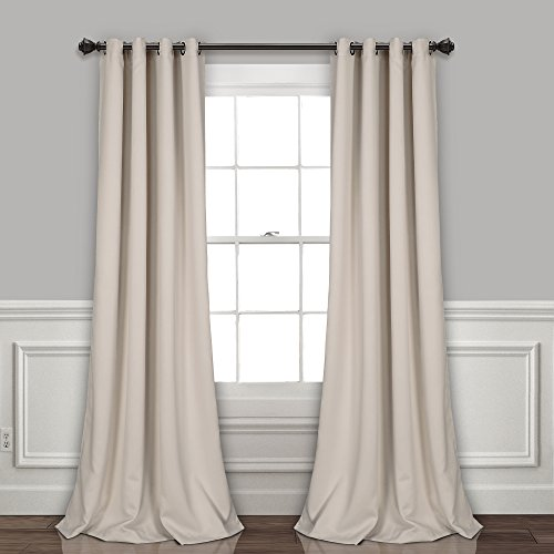 Lush Decor Curtains-Grommet Panel with Insulated Blackout Lining, Room Darkening Window Set (Pair) 120' x 52' Wheat, L