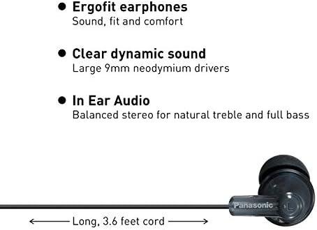 Panasonic ErgoFit In-Ear Earbud Headphones RP-HJE120K Dynamic Crystal-Clear Sound, Ergonomic Comfort-Fit, 9mm, Black 13
