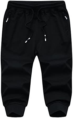 FASKUNOIE Men's Cotton Casual Shorts 3/4 Jogger Capri Pants Breathable Below Knee Home Lounge Short Pants with Three Pockets 6
