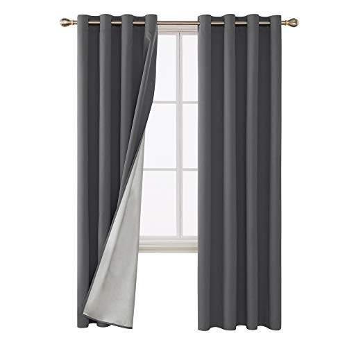 Deconovo Blackout Curtains Thermal Insulated Draperies with Silver Coating Back Window Draperies for French Doors 52W x 95L Inch Dark Grey 2 Panels