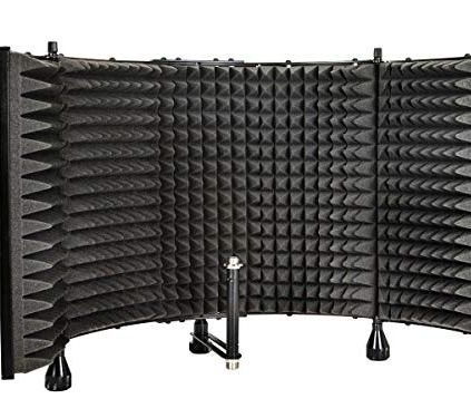 Monoprice-Microphone-Isolation-Shield-Black-Foldable-With-38-Mic-Threaded-Mount-High-Density-Absorbing-Foam-Front-Vented-Metal-Back-Plate-Stage-Right
