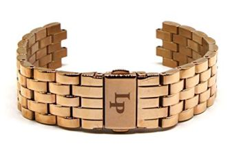 Lucien Piccard 18MM Stainless Steel Strap Bracelet 7 Inches Rose Gold with LP Initial Clasp Fits Nebula Watch