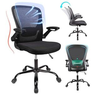 Home Office Chair Ergonomic Mid-Back Mesh Desk Chair, Adjustable Height with Lumbar Support,Flip Up Arms and Large Thick… 1
