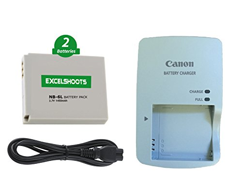Excelshoots 2X Battery & 1X Charger for Canon NB-6L/NB-6LH, CB-2LY and PowerShot SX500, SX510, SX520, SX530, SX600, SX610, SX700, SX710 Digital Cameras.