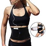 AUOPLUS Waist Trimmer Belt, Premium Nano-Silver Coatings Waist Trainer Corset for Women & Men, Sweat Sauna Belt, Weight Loss Wrap, Stomach Fat Burner Lumbar Support,Sport Girdle with Pocket (Black, M)