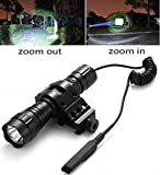 Tactical Flashlight for AR15 1200Lumens Zoomable Weapon Light Super Bright LED Rail Lights Waterproof with Rechargeable Battery, Pressure Switch, Picatinny Offset Mount for Hunting Camping Outdoors