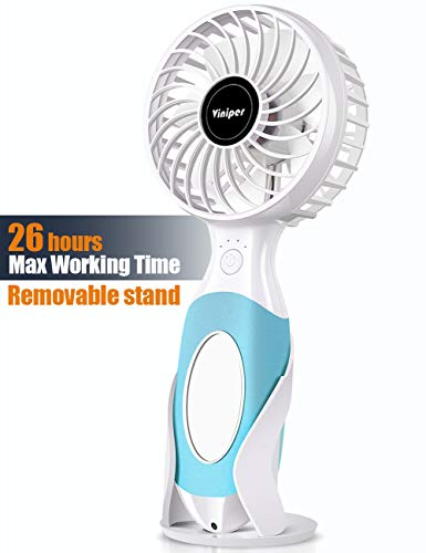 viniper Battery Handheld Fan, Portable Battery Operated Fan : 3600mAh Rechargeable & 3 Speeds Personal Electric USB Fan with Mini Mirror and Fan Stand for Home/Office/Travel/Outdoor (Blue)
