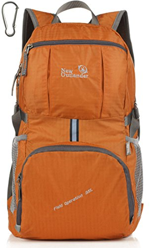 Outlander Packable Handy Lightweight Travel Hiking Backpack Daypack+ (New Orange)