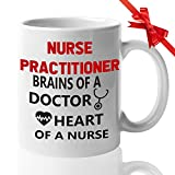 Nurses Gift Funny Cofee Mugs for Doctor RN - Gifts Idea for Nurses week Nursing Student Nurse Appreciation Week Future Doctor NICU gifts - Nurse Practitioner Brains of a Doctor Heart
