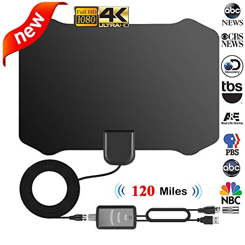 TV Antenna, [2019 Strongest] Indoor Digital HDTV Amplified Antennae Aerial Freeview 4K 1080P HD VHF UHF for Local Channels 120 Miles with Amplifier Support All Television-13ft Coax Cable