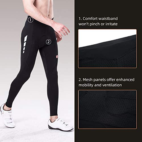 Souke Sports Men's Bicycle Pants 4D Padded Road Bike Tights Breathable Cycling Long Leggings 4