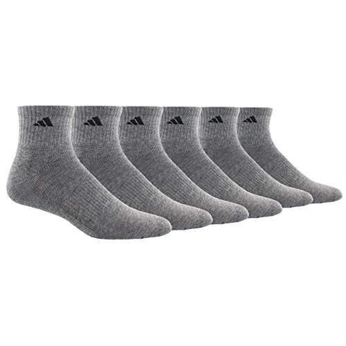 adidas Men's Athletic Quarter Socks (6 Pack), Heather Grey/Black, Shoe Size 6-12