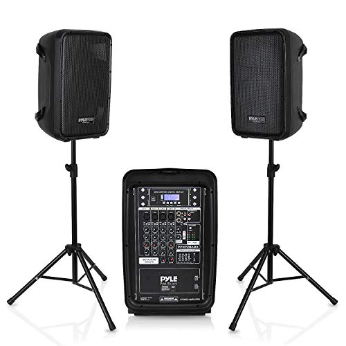 PA Speaker DJ Mixer Bundle - 300 W Portable Wireless Bluetooth Sound System with USB SD  XLR 1/4' RCA Inputs - Dual Speaker, Mixer, Microphone, Stand, Cable - For Home / Outdoor Party - Pyle PPHP28AMX