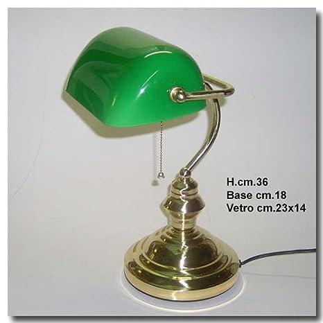Bank Lamp Lampada Churchill Da Tavolo Biblioteca Studio Scrivania Ministeriale Ottone Vetro Verde