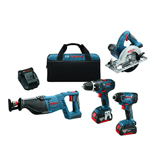 Bosch 18-Volt 4-Tool Combo Kit CLPK420-181 with Charger, 2 Batteries (4.0 Ah Fat Pack Batteries), Belt Clips, and Blue Carrying Bag