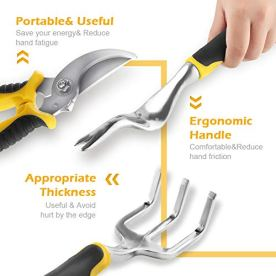 YISSVIC-Garden-Tools-Set-12-Pieces-Heavy-Duty-Gardening-Kit-cast-Aluminum-with-Soft-Rubberized-Non-slip-HandleDurable-Storage-Tote-Bag-and-Pruning-Shears-Gardening-Supplies-Gifts-for-Men-Women