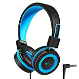 iClever Kids Headphones - Wired Headphones for Kids, Adjustable Headband, Stereo Sound, Foldable, Untangled Wires, 3.5mm Aux Jack Headsets, 94dB Volume Limited - Childrens Headphones on Ear, Blue