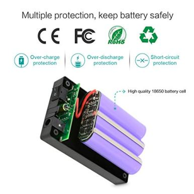 TalentCell-Rechargeable-12V-DC-Output-Lithium-ion-Battery-Pack-for-LED-StripLightPanelAmplifier-and-CCTV-Camera-with-Charger-Multi-led-Indicator-Black-3000mAh