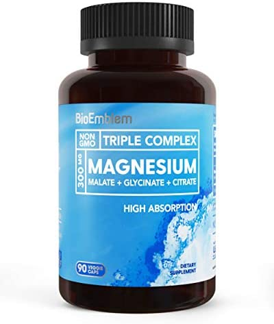 BioEmblem Triple Magnesium Complex | 300mg of Magnesium Glycinate, Malate, & Citrate for Muscle Relaxation, Sleep, Stress Relief, & Energy | High Absorption | Vegan, Non-GMO | 90 Capsules 1