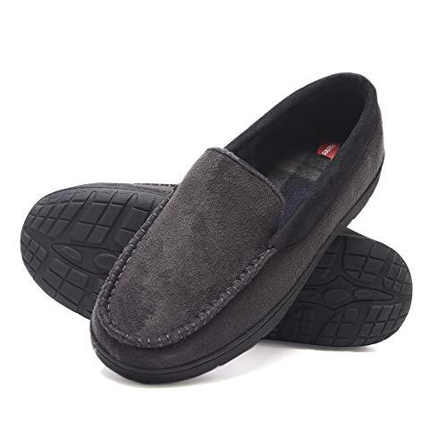 Hanes Men's Venetian Memory Foam Indoor Outdoor Moccasin Slipper Shoe with Fresh IQ (Size Small, Grey)