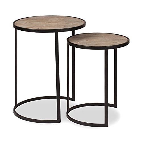 kate and laurel gracen metal and wood nesting tables 2 piece set black and natural wood