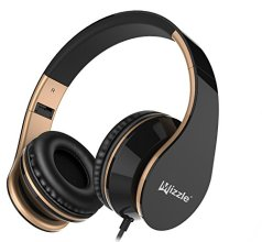 Wired Headphones, Mizzle MZ-65 On-Ear Stereo Sound Bass Portable Foldable Wired Headsets with Microphone and Volume Control for iPhone, Android Smartphones and Tablets (Black/Gold)