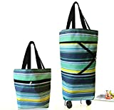 Cocobuy Collapsible Trolley Bags Folding Shopping Bag with Wheels Foldable Shopping Cart Reusable Shopping Bags Grocery Bags Shopping Trolley Bag on Wheels for Women (Stripes)
