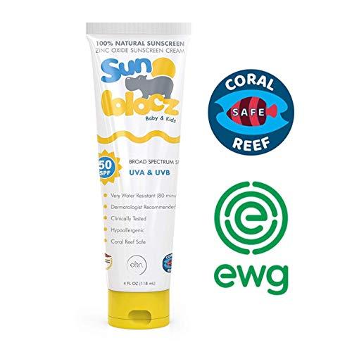 Sunblocz Baby + Kids Natural Mineral Sunscreen, 50+SPF - Organic Sunblock with Zinc Oxide - Reef Safe, Waterproof, Eczema Skin Safe & Hypoallergenic