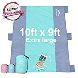 Gamegie Sand Proof Beach Blanket, Large Sand Free Beach Mat Oversized Waterproof Outdoor Sandless Mat for Travel,Camping,Hiking and Music Festivals,Compact and Lightweight Sand Blanket