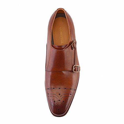 ab494ac15df8 COMOTEK Men s Classic Double Monk Strap Full Grain Leather Shoes ...