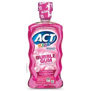 ACT Kids Anti-Cavity Fluoride Rinse Bubblegum Blowout Children's Mouthwash with Fluoride & Exact Dosage Meter,16.9 Fl Oz 41YgXCXg0 2BL